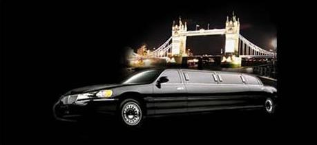 Black limo and Tower Bridge in London