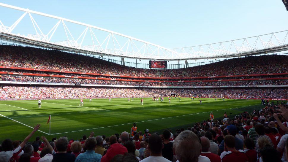 View of the pitch in Emirates Stadium in London