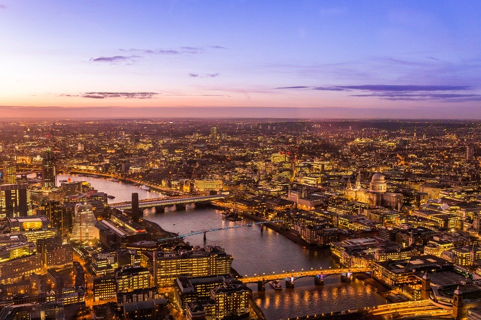 Panoramic view of London in the evening